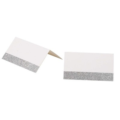 Sustainable Greetings 100-Pack Silver Glitter Place Cards for Weddings, Birthdays Table Setting (2 x 3.5 In)