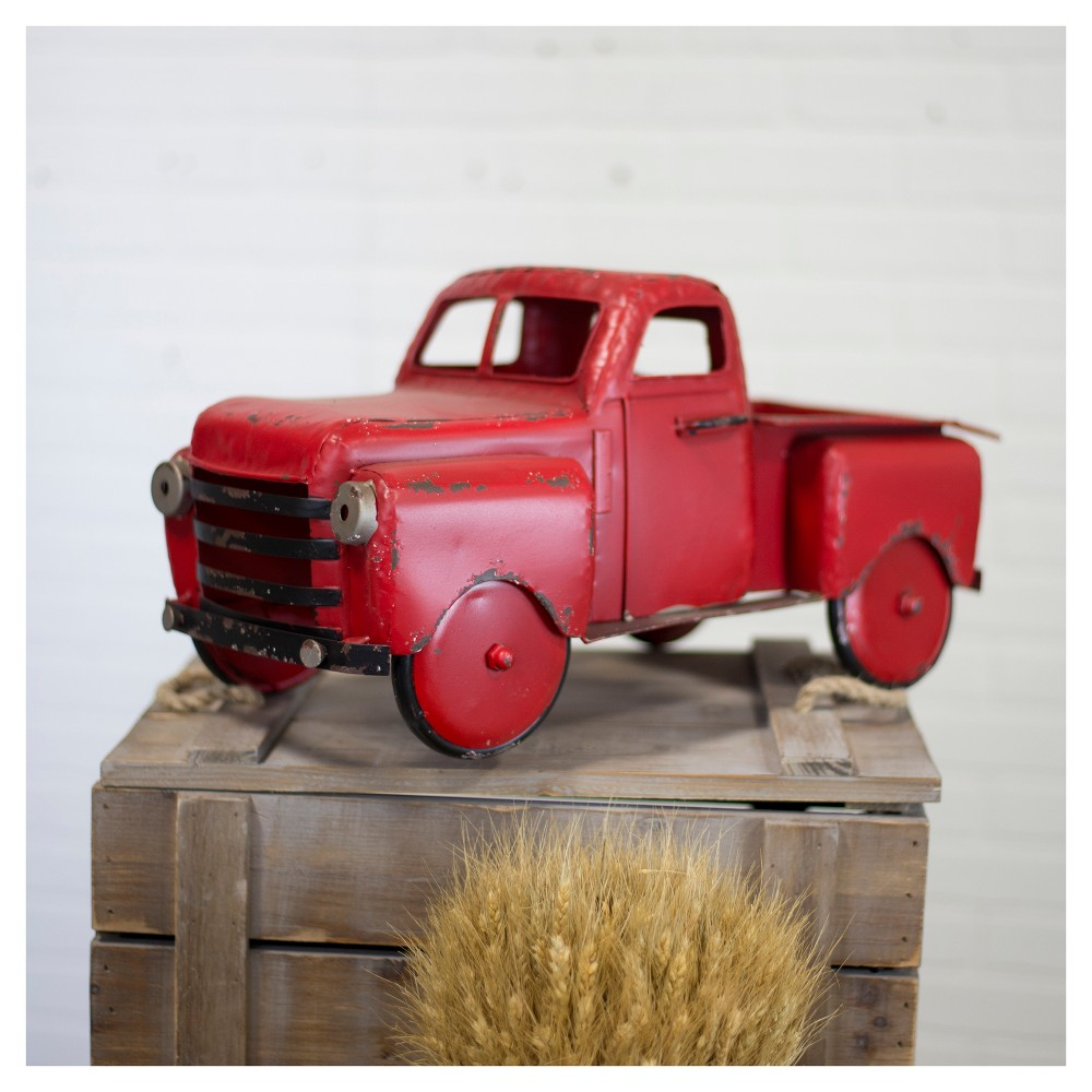 Decorative Metal Truck Red - VIP Home & Garden