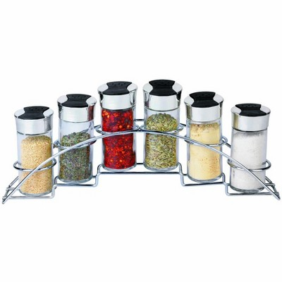 Home Basics Ultra Sleek Half Moon Steel Seasoning and Herbs Organizing Spice Rack with 6 Empty Glass Spice Jars, Chrome