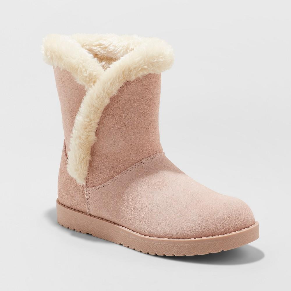 Women's Daniah Wide Width Suede Winter Boots - Universal Thread Blush 9W, Size: 9 Wide