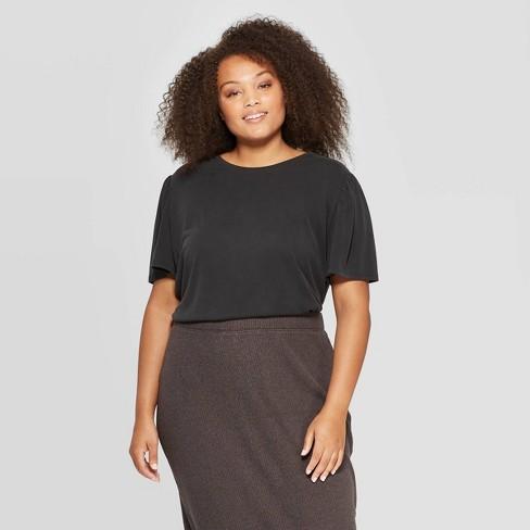 Women's Plus Size Flutter Short Sleeve Crewneck Sandwash T-Shirt - A New Day™ - image 1 of 3