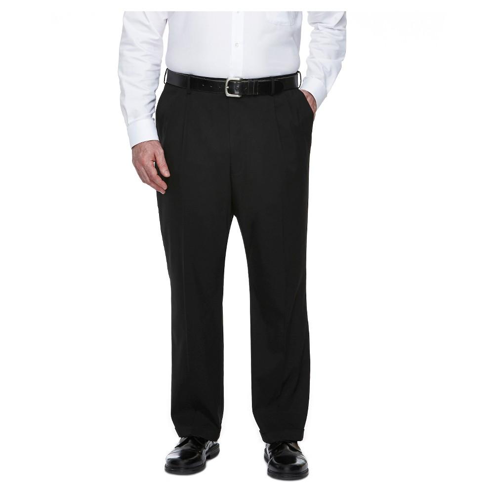 Haggar H26 - Men's Big & Tall Classic Fit Stretch Suit Pants Black 46x32