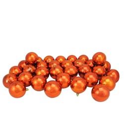 "Northlight 32ct Shatterproof Shiny Christmas Ball Ornament Set 3.25"" - Orange"