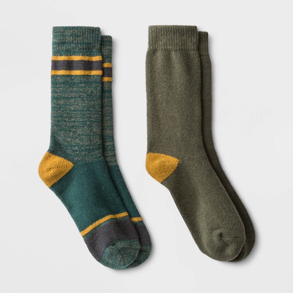 Image of Men's Striped Boot Socks 2pk - Goodfellow & Co Green 7-12, Men's, Size: Small