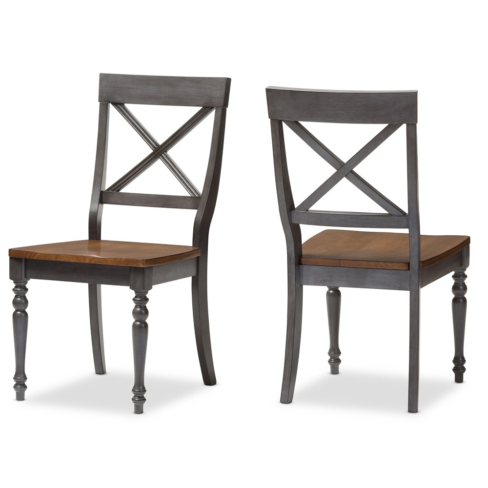 Set of 2 Rosalind Shabby Chic Country Cottage Solid Oak Wood Finishing X - Back Dining Side Chairs - Gray, Brown - Baxton Studio