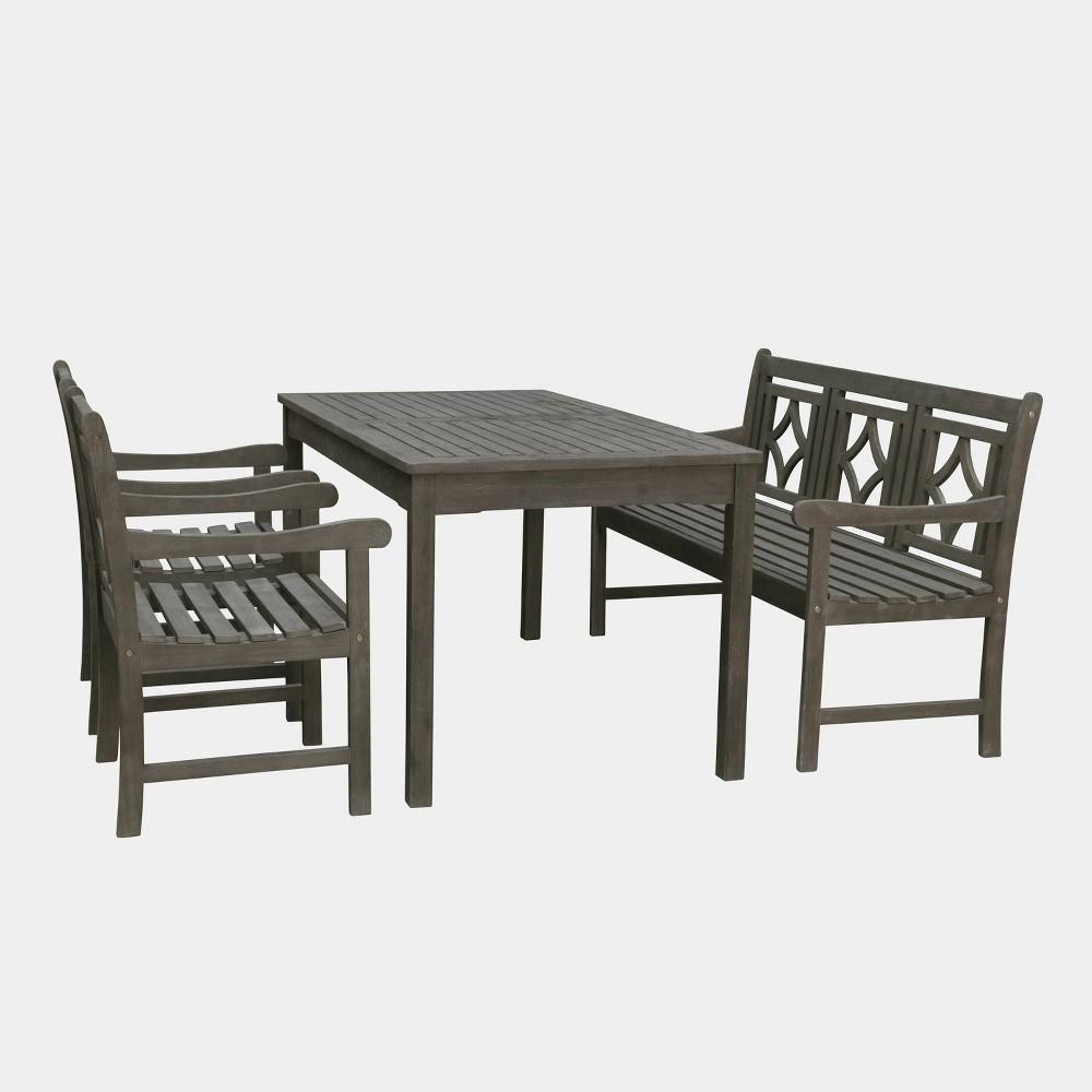 Renaissance 4pc Rectangle Wood Outdoor Patio Dining Set - Gray - Vifah