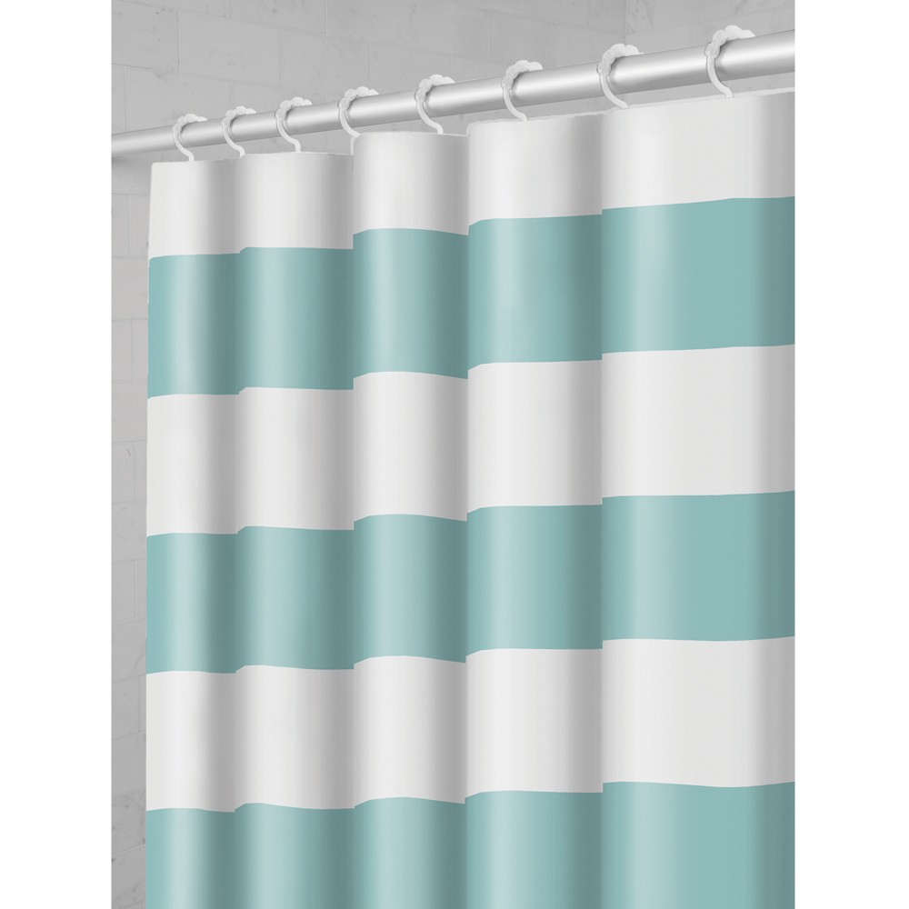 Smart Shower Curtains Porter Stripe Fabric With Attached Hooks Blue - Maytex