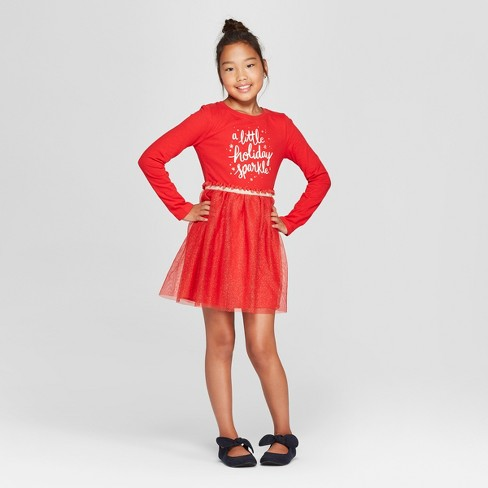 d952f2a853 Girls  Holiday Sparkle Dress - Cat   Jack™ Red   Target