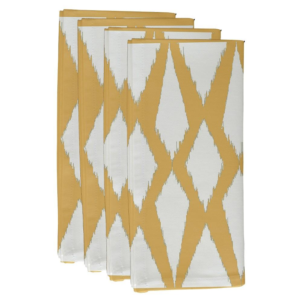 "Image of ""Yellow Geometric Throw Napkin Set (19""""X19"""") - E By Design, Yellow Pattern"""