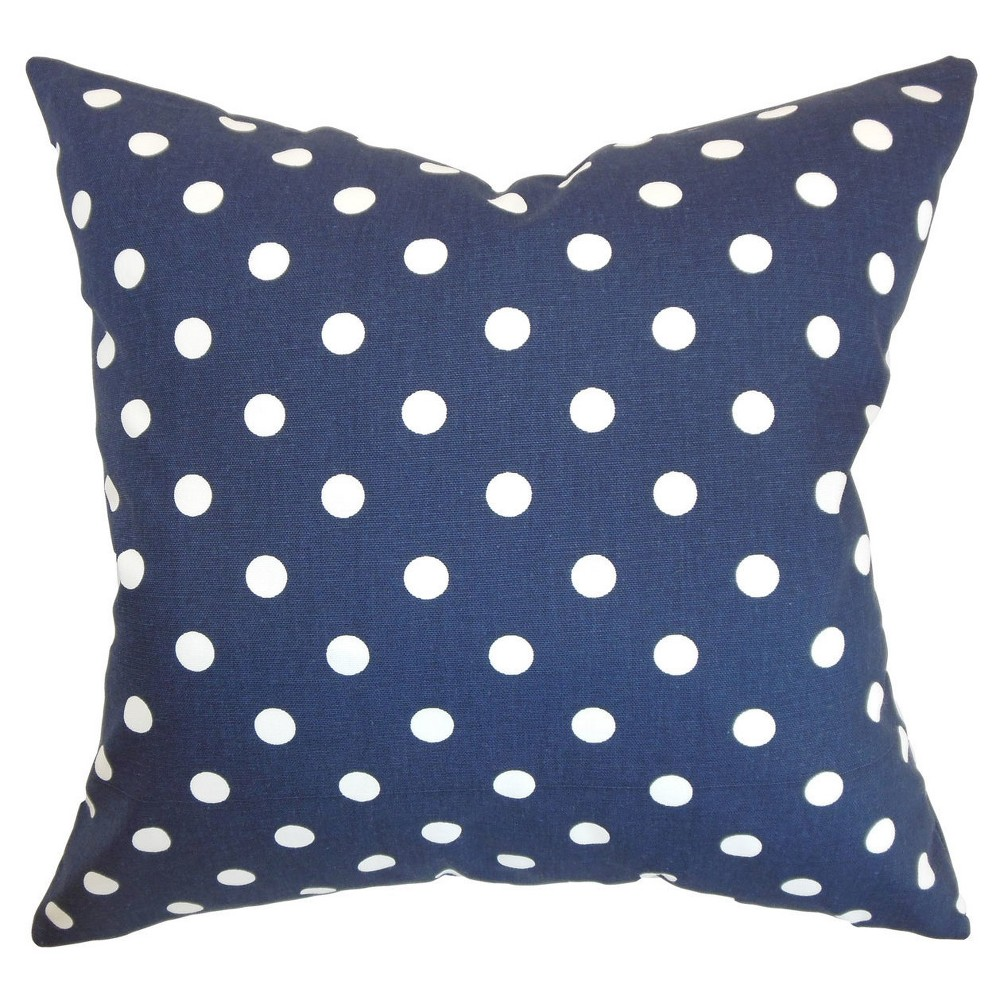 Polka Dot Throw Pillow Blue (20