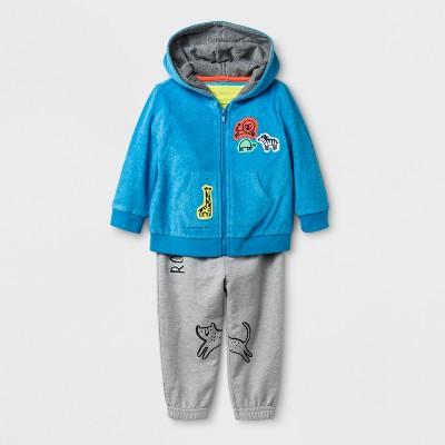 Baby Boys' 3pc Hooded Sweatshirt, Bodysuit, and Jogger Set - Cat & Jack™ Blue 0-3M