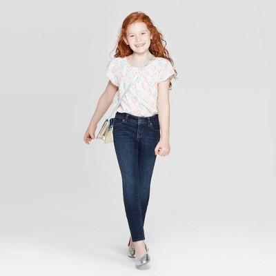 Adjustable Waist Super Stretch Girls Skinny Jeans Cat /& Jack Super Skinny Size 16 Indigo Blue