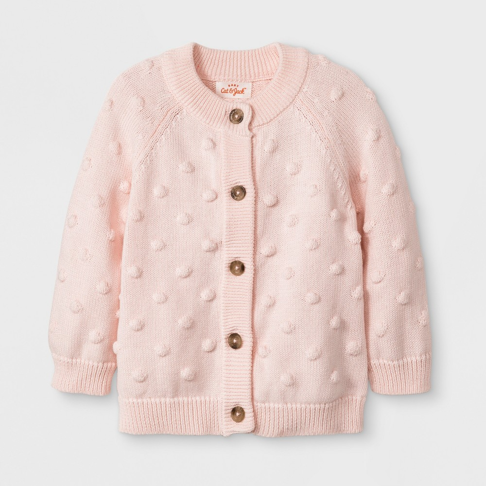 Baby Girls' Long Sleeve Raglan Sweater - Cat & Jack Blush 3-6M, Pink