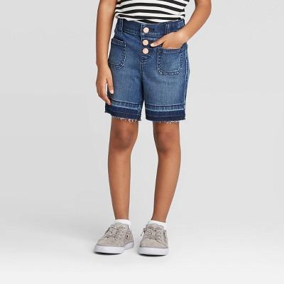 Toddler Girls' Patch Pocket Bermuda Jean Shorts - Cat & Jack™ Blue