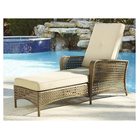 Lakewood Ranch Steel Woven Wicker Outdoor Adjule Chaise Lounge Chair With Cushions Brown Cosco Target