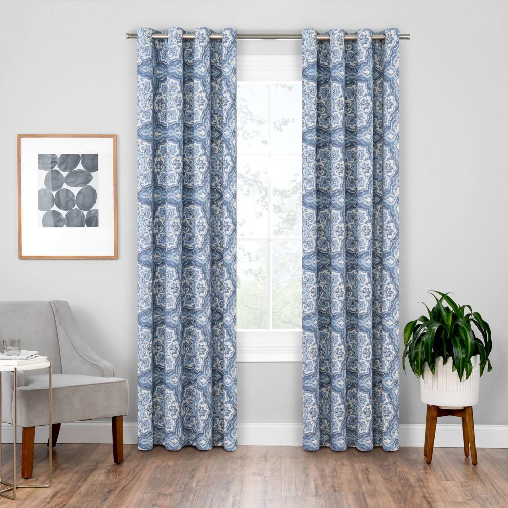 Benetta Blackout Window Curtains Indigo (Blue)/Medallion 52X84 - Eclipse