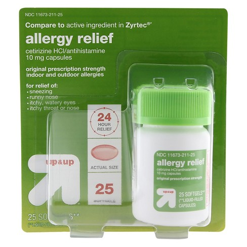 Cetirizine HCL/ Allergy Relief Softgels - 25ct - Up&Up™ (Compare to active ingredient in Zyrtec) - image 1 of 1