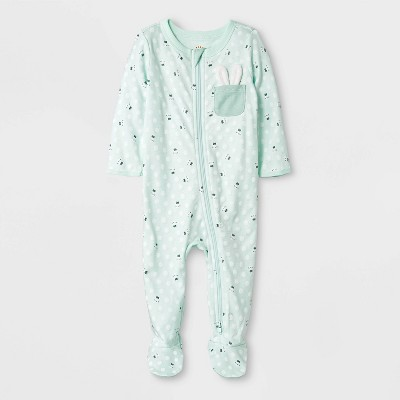 Baby Boys' Zipper Sleep 'N Play Pocket Bunny Pajama - Cat & Jack™ Green Newborn