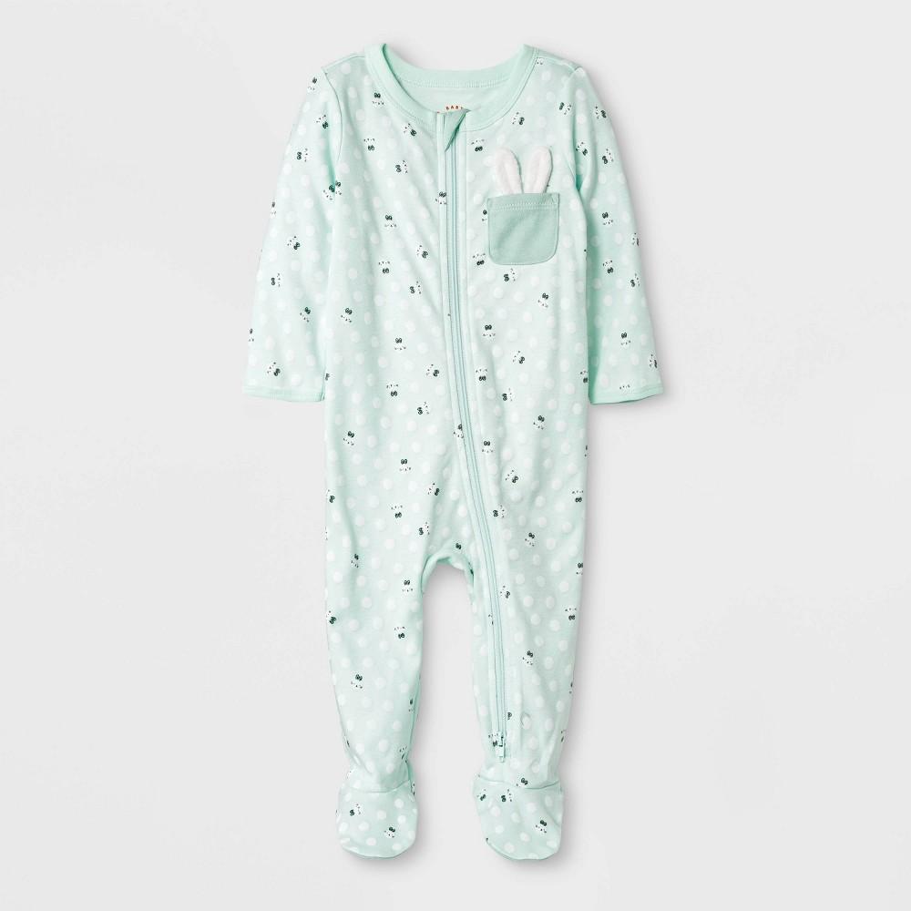 Baby Boys' Zipper Sleep 'N Play Pocket Bunny Pajama - Cat & Jack Green 3-6M, Blue