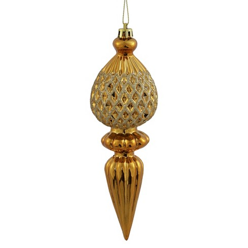 3ct Antique Gold Finial Glitter Christmas Ornament Set - image 1 of 1