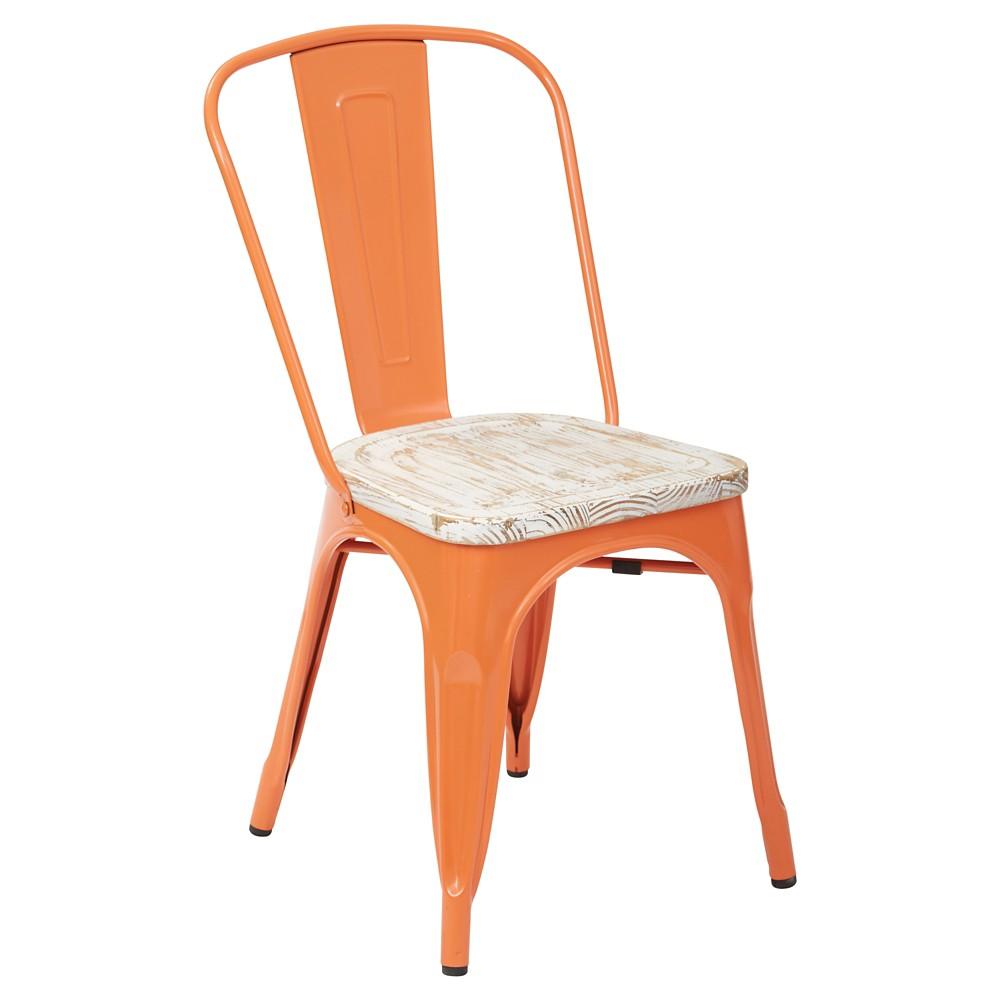 4pk Bristow Orange Frame Metal Chair with Vintage Wood Seat Pine White - Osp Home Furnishings