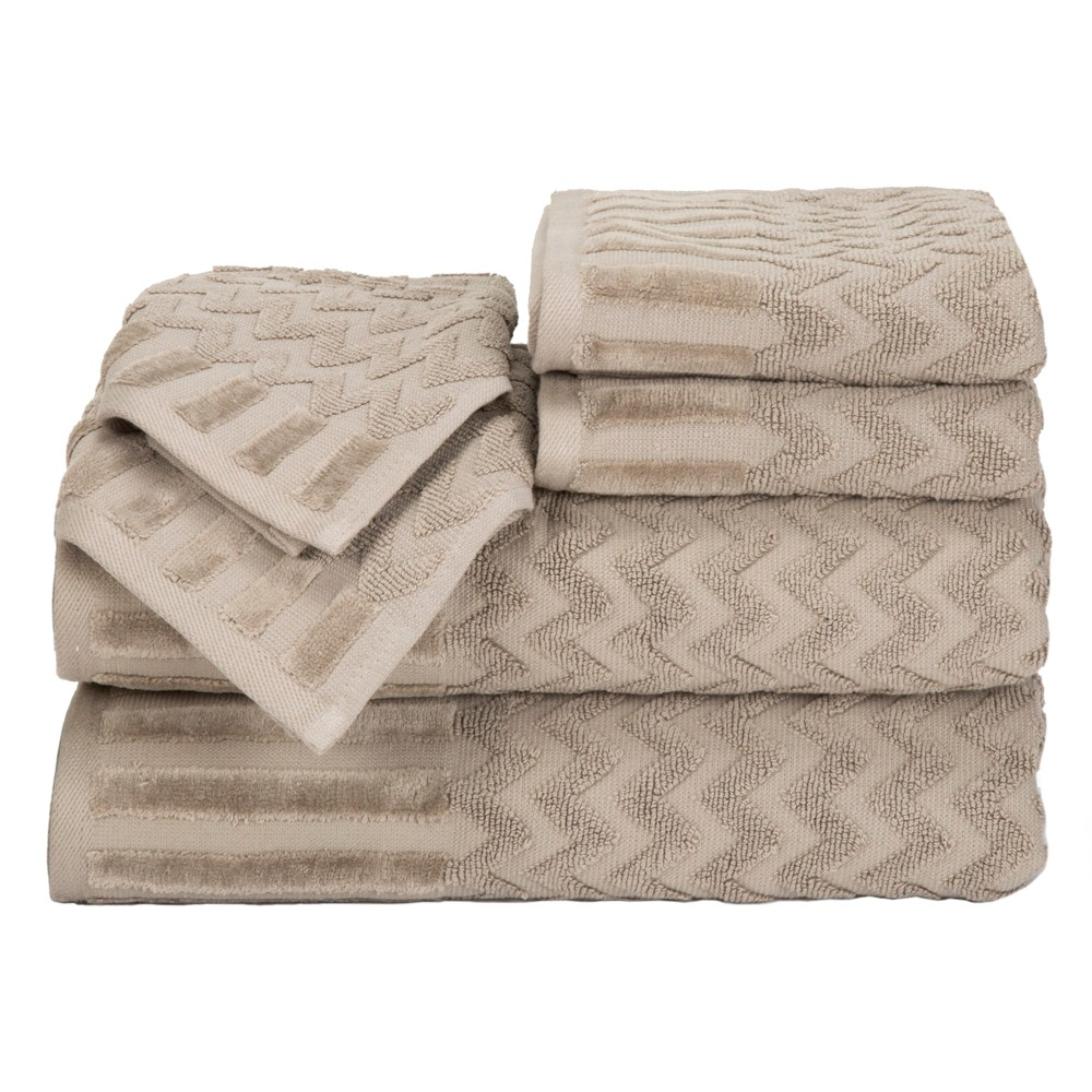 Chevron Bath Towels And Washcloths 6pc Taupe (Brown) - Yorkshire Home