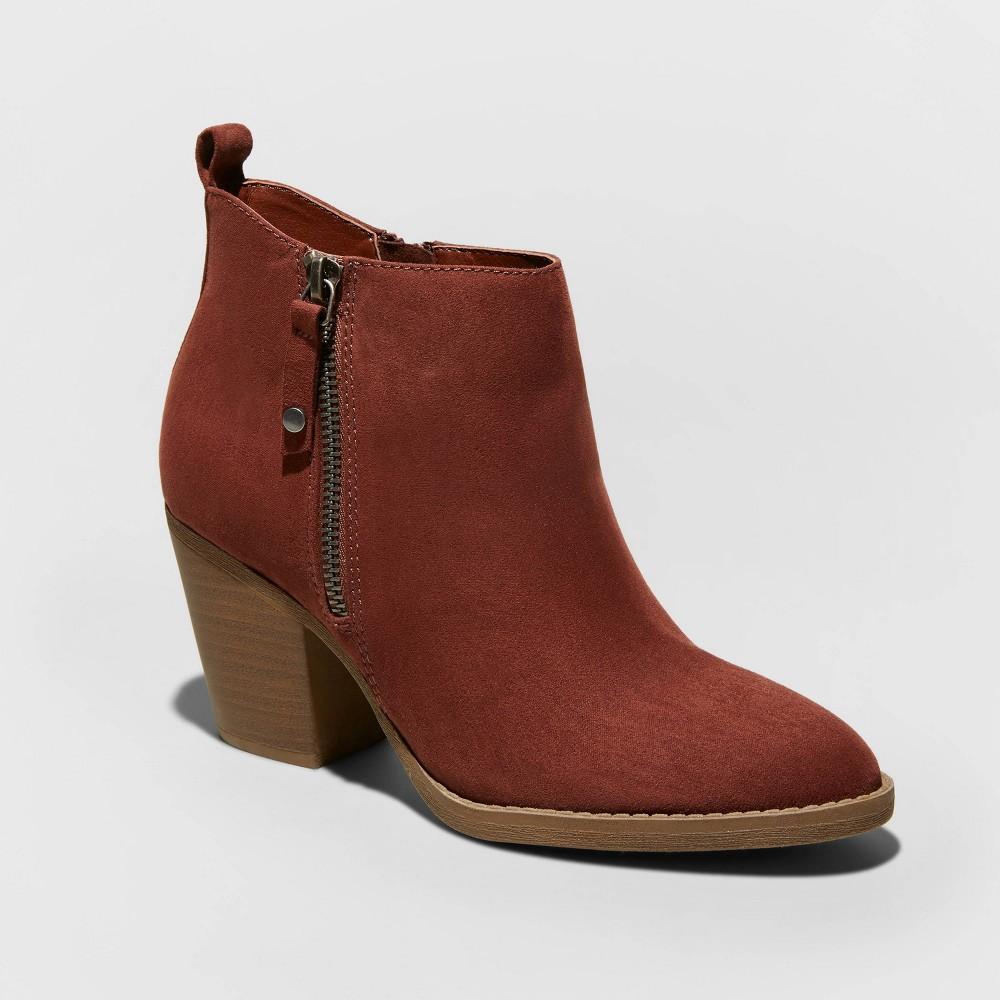 Women's Jameson Wide Width Microsuede Double Zip Bootie - Universal Thread Burgundy 6W, Size: 6 Wide, Red was $34.99 now $22.74 (35.0% off)