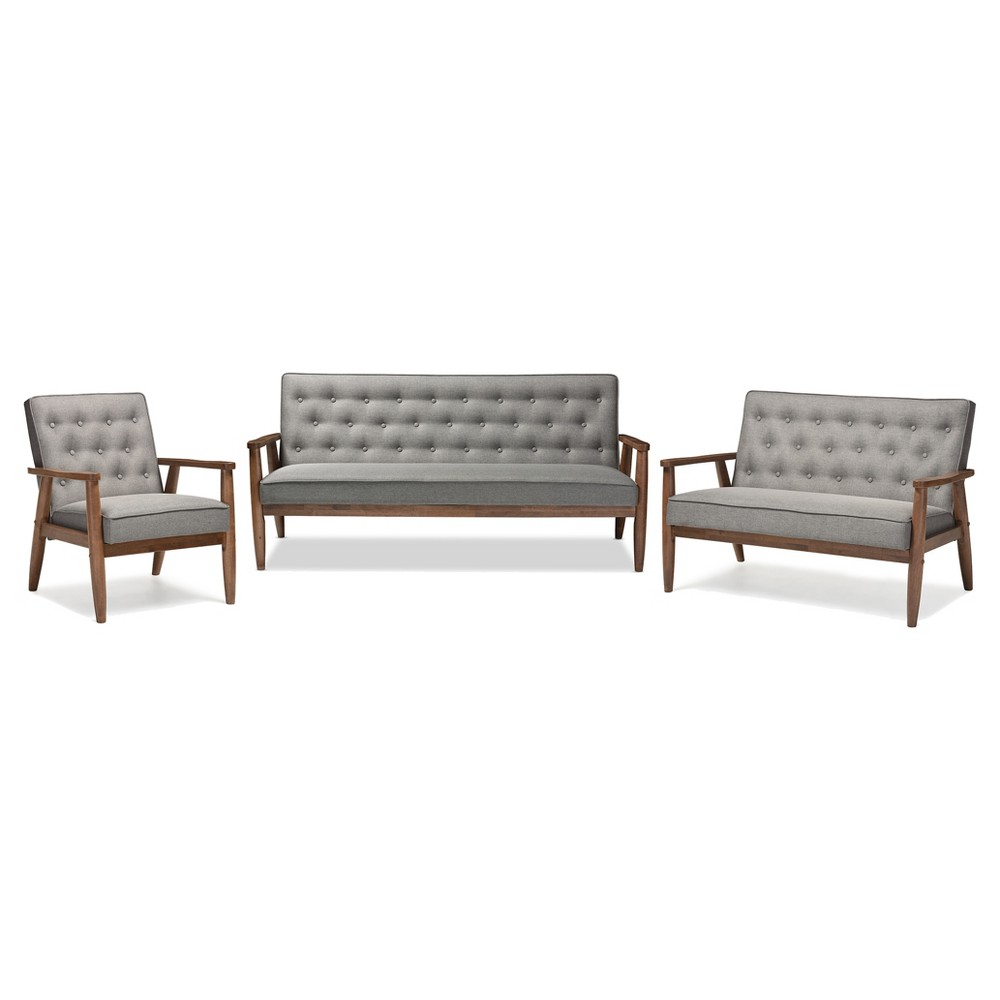 Sorrento Mid - Century Retro Modern Fabric Upholstered Wooden 3 Piece Living Room Set - Gray - Baxton Studio