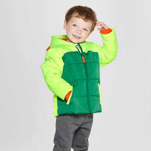 Toddler Boys' Dino Puffer Jacket - Cat & Jack™ Green 3T - image 1 of 3