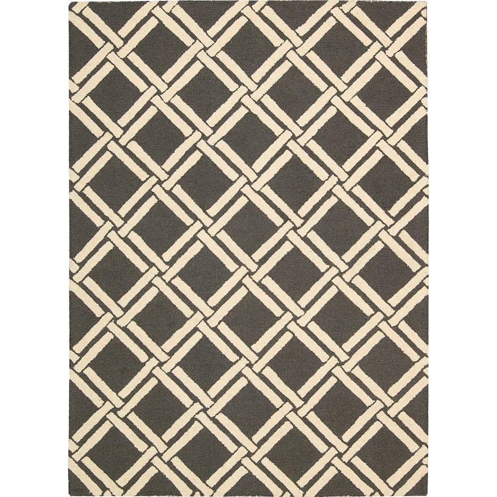 Image of Nourison Diamond Lattic Linear Area Rug - Gray/Ivory (5'X7')