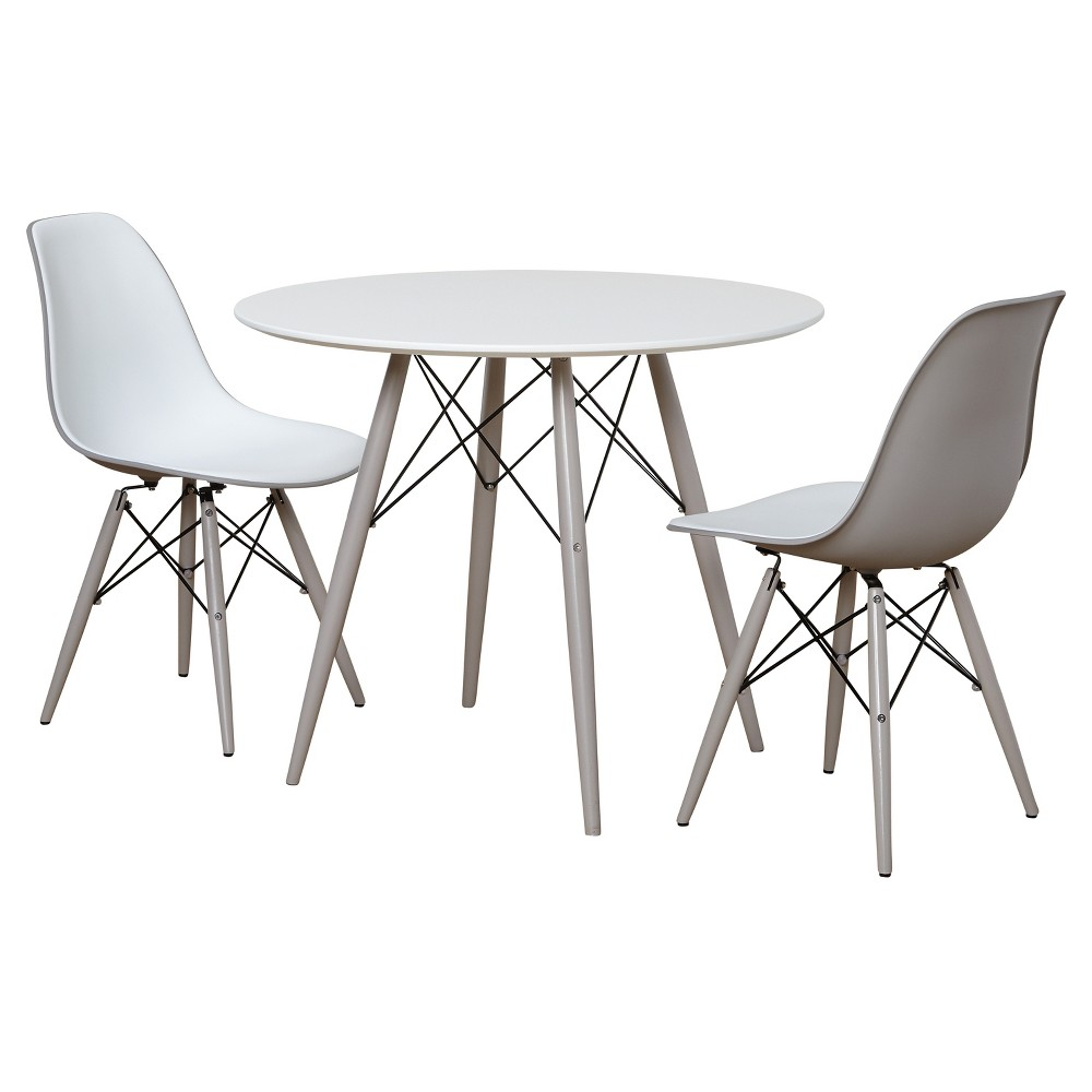 3 Piece Elba Dining Set - White - Gray - Target Marketing Systems