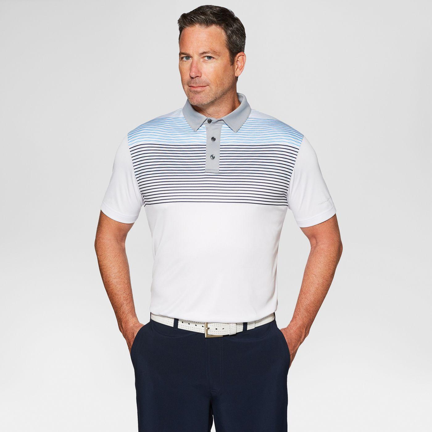 Jack Nicklaus Men's Stripe Golf Polo Shirt (Bright White,Large)