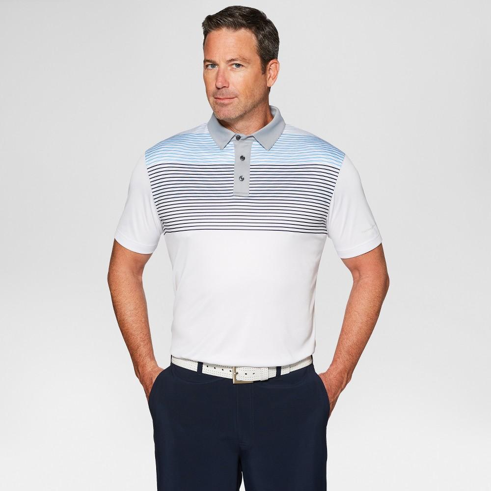 Jack Nicklaus Men's Striped Golf Polo Shirt - Bright White Xxl