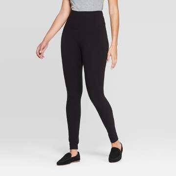Women's Seamless High Waist Fleece Lined Leggings - A New Day? Black