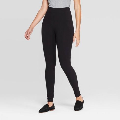 Women's Seamless High Waist Fleece Lined Leggings - A New Day™ Black - image 1 of 2