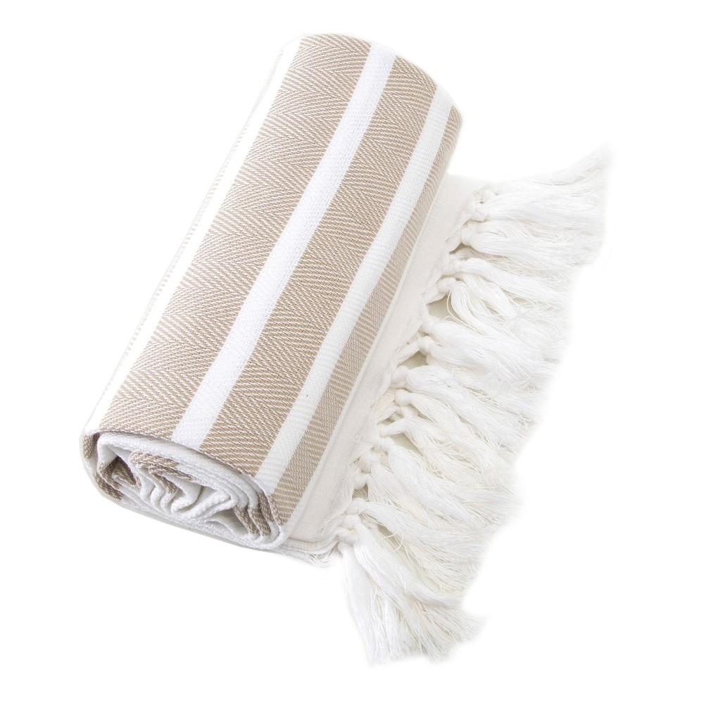 Image of Herringbone Pesetemal Beach Towel Beige