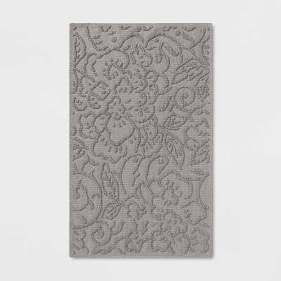 Gray Sculpted Floral Bath Rug Gray - Threshold™