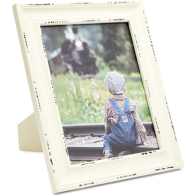 Farmlyn Creek Wood Picture Frame for 8x10 inch Photo for Rustic Farmhouse Home Decor, White, 12.75 x 10.75 in.