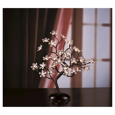 Lightshare 18  36 LED Crystal Clear Acrylic Flower Bonsai With Green Leaf And Battery Powered - Warm White Lights