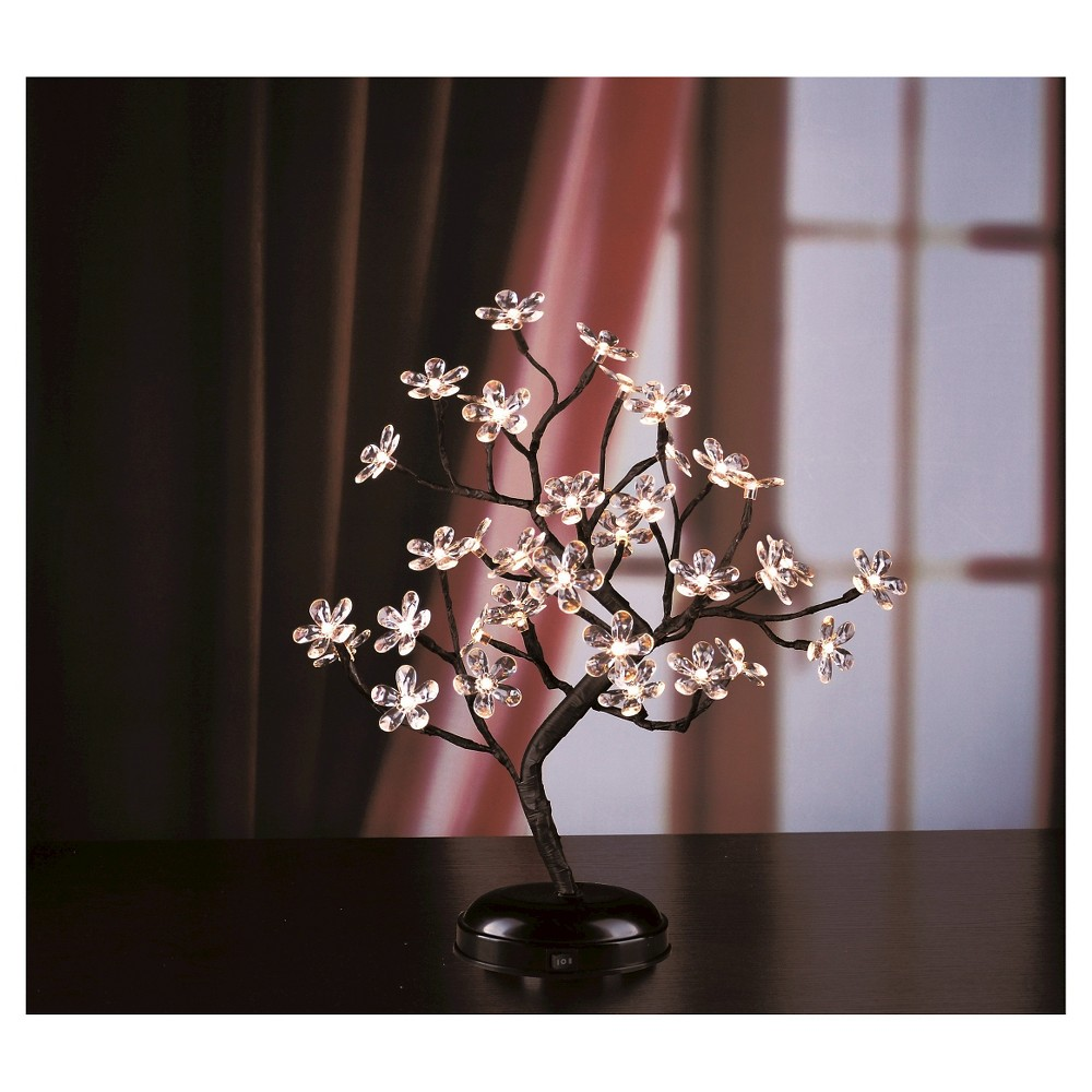 "Image of ""Lightshare 18"""" 36 LED Crystal Clear Acrylic Flower Bonsai With Green Leaf And Battery Powered - Warm White Lights"""