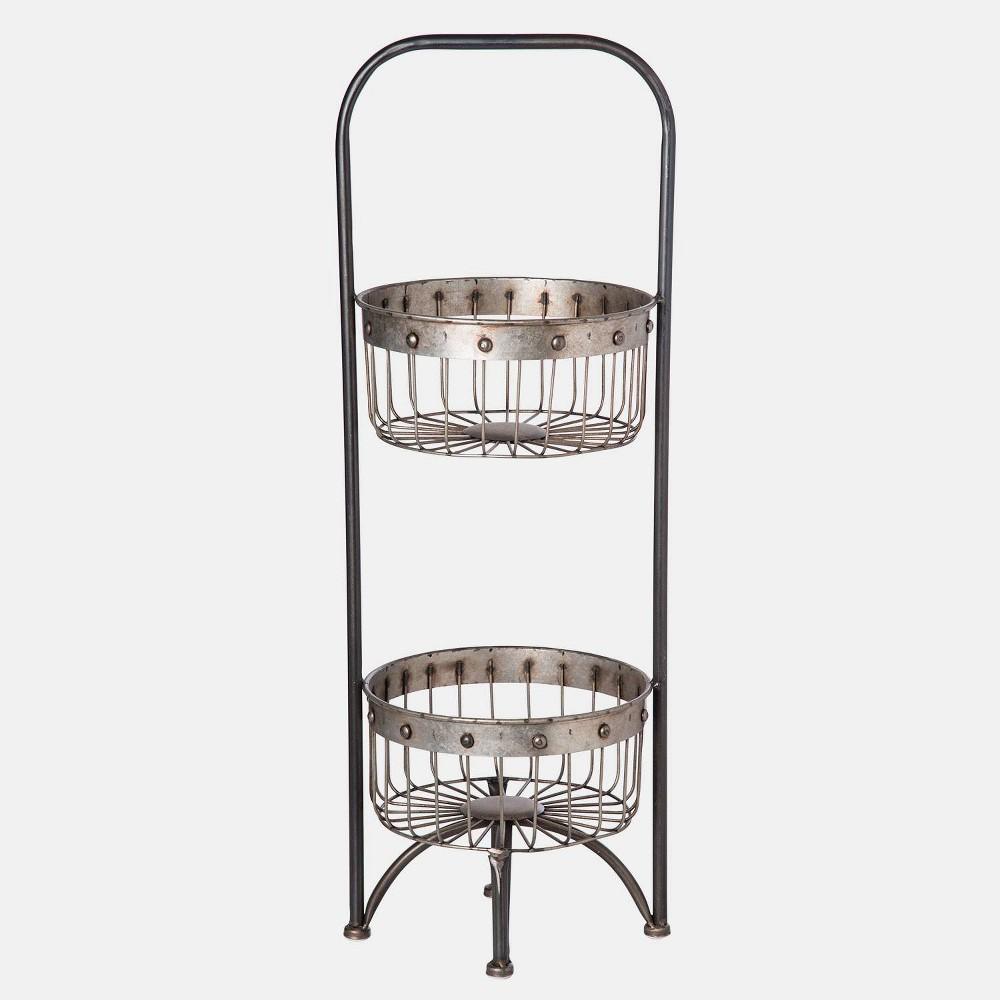 29 Metal 2-Tier Basket Shelf Silver - Foreside Home & Garden Simple, sensible, and stylish, the Two Tier Basket Shelf by Foreside Home and Garden is perfect for its role in storage and display. Its metal wired baskets are just as elegant as they are convenient. Color: Silver.