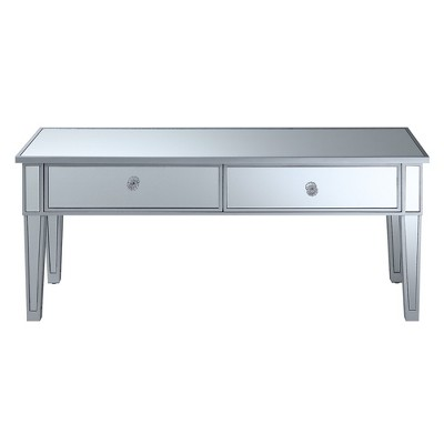 Gold Coast Mirror Coffee Table with Two Drawers Mirror/Silver Frame - Breighton Home