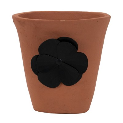 Natural Handthrown Terracotta Planter with Decorative Metal Accent - Foreside Home & Garden