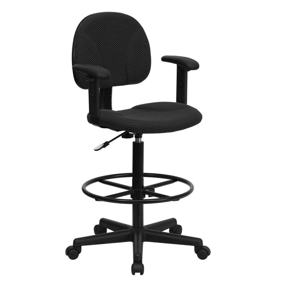 Image of Ergonomic Drafting Chair Adjustable Black - Flash Furniture