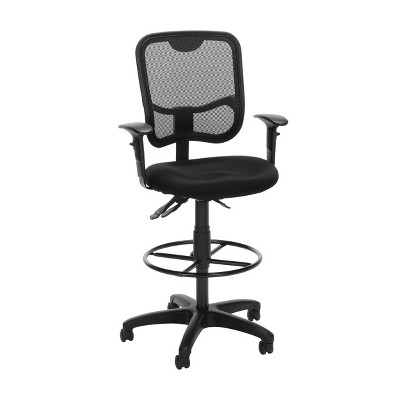 Comfort Series Ergonomic Mesh Mid-Back Swivel Task Chair with Arms and Drafting Kit Black - OFM