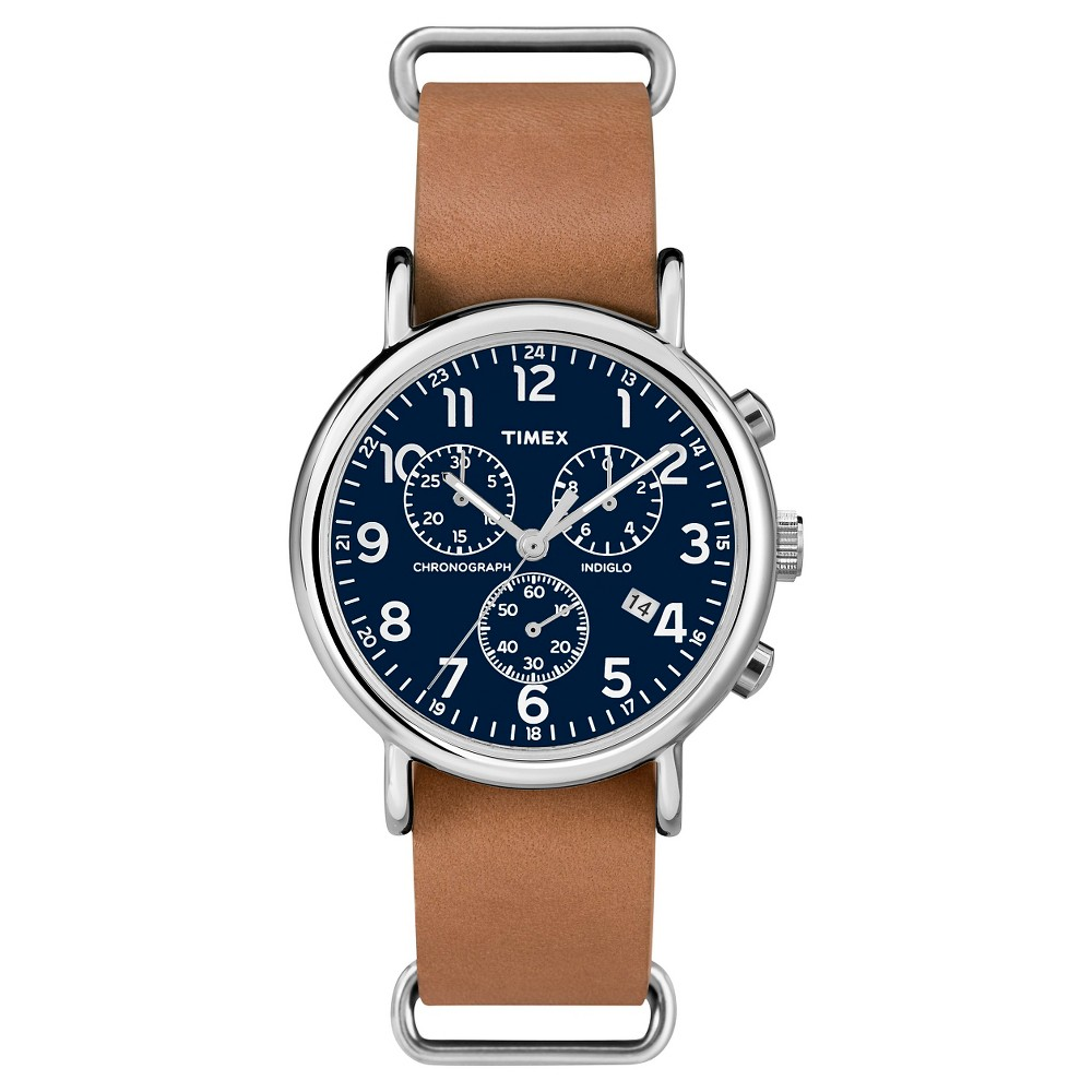 Timex Weekender Slip Thru Leather Strap Chronograph Watch - Tan/Blue TW2P62300JT, Adult Unisex