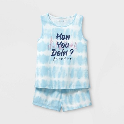 Girls' Friends How You Doin'? 2pc Pajama Set - Blue