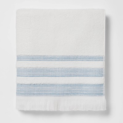 Chambray Border Striped Bath Towel White/Blue - Threshold™