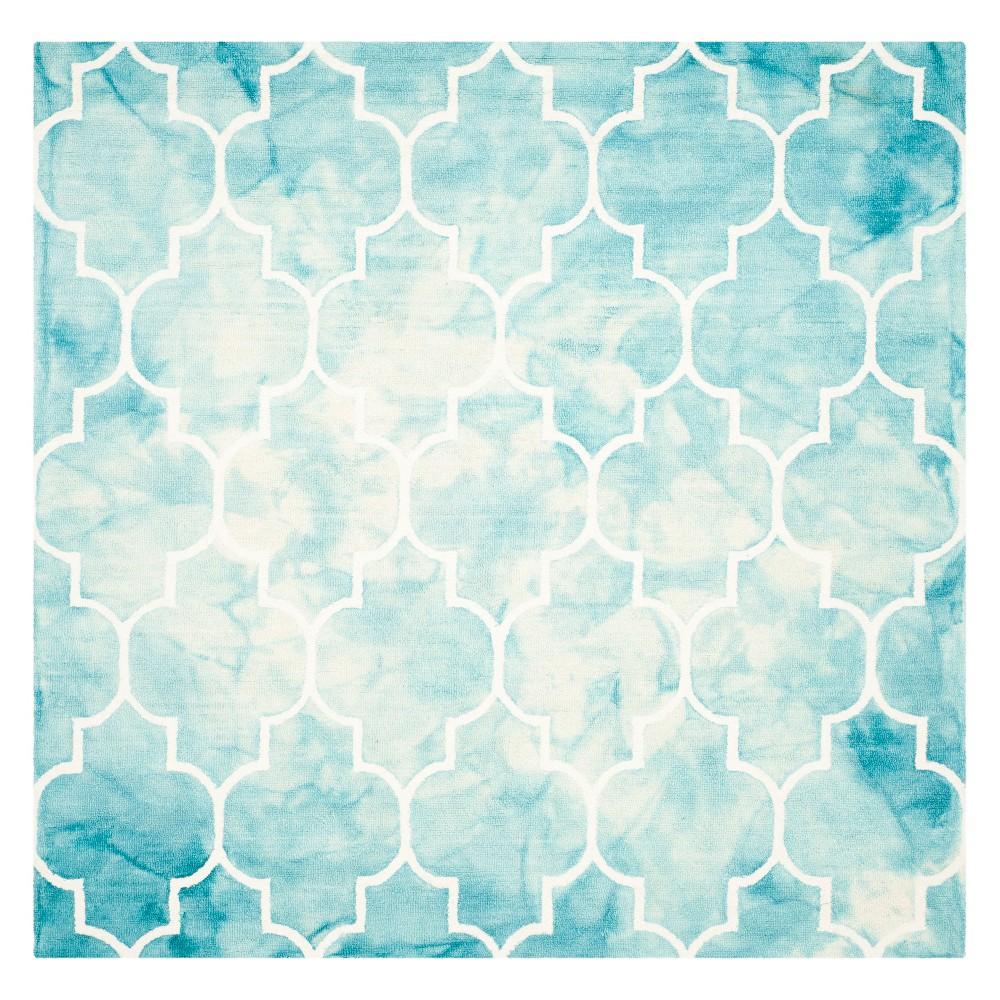 7'X7' Quatrefoil Design Square Area Rug Turquoise/Ivory - Safavieh