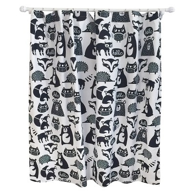 Forest Friends Shower Curtain Black
